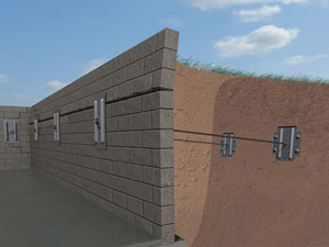 A graphic illustration of a foundation wall system installed in Le Mars