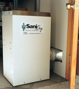 A Energy Efficient basement dehumidifier installed in a finished basement in Carroll