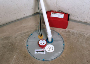 A sump pump system with a battery backup system installed in Le Mars
