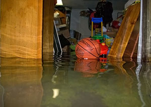 A flooded basement bedroom in Elkhorn